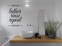 "Bathroom Wall Quote ""Lather Rinse Repeat"", Wall Sticker, Modern Decal Transfer"